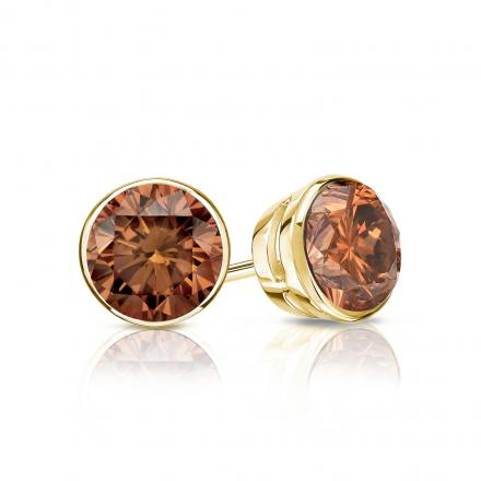 Certified 14k Yellow Gold Bezel Round Brown Diamond Stud Earrings 0.75 ct. tw. (Brown, SI1-SI2)