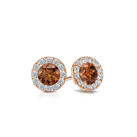 Certified 14k Rose Gold Halo Round Brown Diamond Stud Earrings 0.75 ct. tw. (Brown, SI1-SI2)