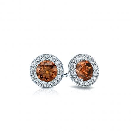 Certified Platinum Halo Round Brown Diamond Stud Earrings 0.75 ct. tw. (Brown, SI1-SI2)