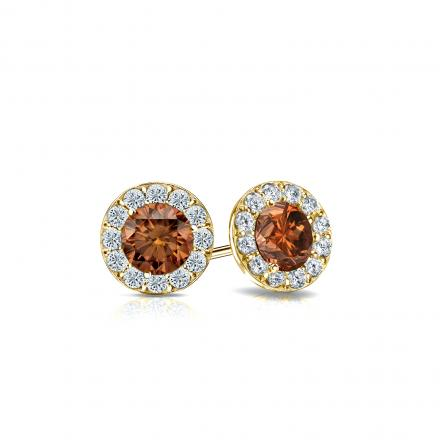 Certified 18k Yellow Gold Halo Round Brown Diamond Stud Earrings 0.75 ct. tw. (Brown, SI1-SI2)