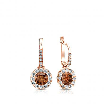 Certified 14k Rose Gold Dangle Studs Halo Round Brown Diamond Earrings 0.75 ct. tw. (Brown, SI1-SI2)