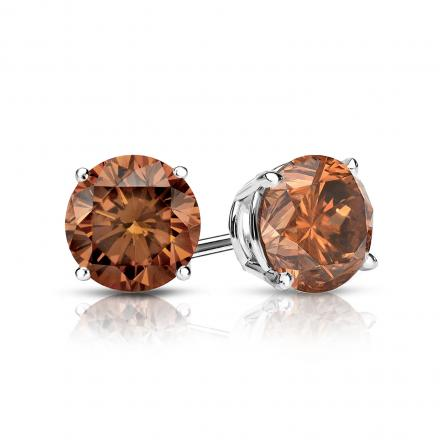 Certified 14k White Gold 4-Prong Basket Round Brown Diamond Stud Earrings 1.00 ct. tw. (Brown, SI1-SI2)