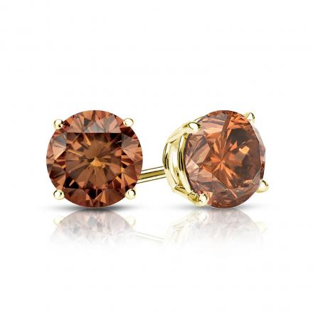 Certified 18k Yellow Gold 4-Prong Basket Round Brown Diamond Stud Earrings 1.00 ct. tw. (Brown, SI1-SI2)