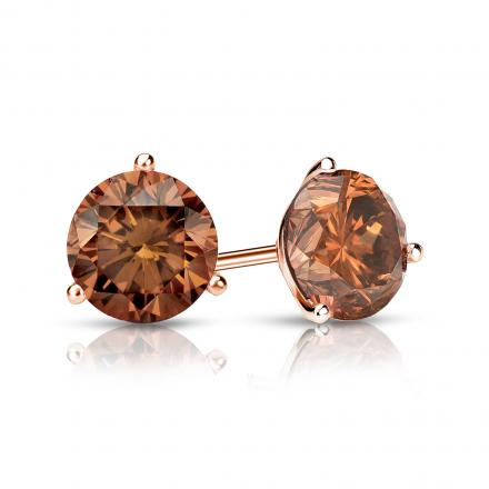 Certified 14k Rose Gold 3-Prong Martini Round Brown Diamond Stud Earrings 1.00 ct. tw. (Brown, SI1-SI2)