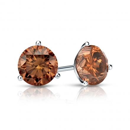 Certified 14k White Gold 3-Prong Martini Round Brown Diamond Stud Earrings 1.00 ct. tw. (Brown, SI1-SI2)