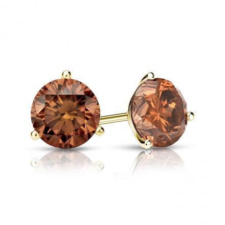 Certified 14k Yellow Gold 3-Prong Martini Round Brown Diamond Stud Earrings 1.00 ct. tw. (Brown, SI1-SI2)