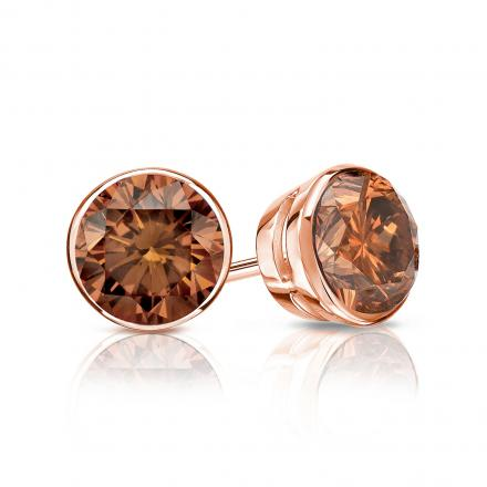 Certified 14k Rose Gold Bezel Round Brown Diamond Stud Earrings 1.00 ct. tw. (Brown, SI1-SI2)