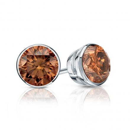 Certified Platinum Bezel Round Brown Diamond Stud Earrings 1.00 ct. tw. (Brown, SI1-SI2)