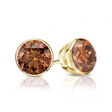 Certified 14k Yellow Gold Bezel Round Brown Diamond Stud Earrings 1.00 ct. tw. (Brown, SI1-SI2)