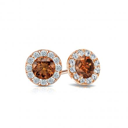 Certified 14k Rose Gold Halo Round Brown Diamond Stud Earrings 1.00 ct. tw. (Brown, SI1-SI2)