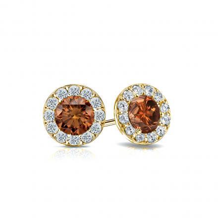 Certified 18k Yellow Gold Halo Round Brown Diamond Stud Earrings 1.00 ct. tw. (Brown, SI1-SI2)