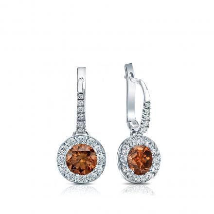 Certified Platinum Dangle Studs Halo Round Brown Diamond Earrings 1.00 ct. tw. (Brown, SI1-SI2)