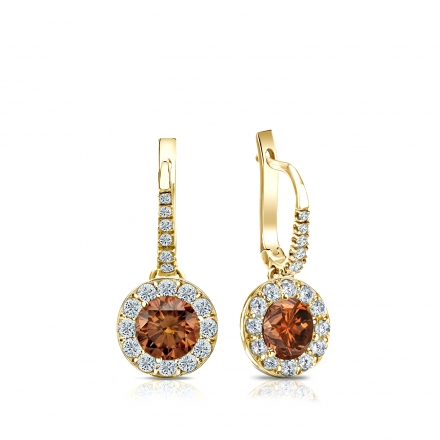 Certified 18k Yellow Gold Dangle Studs Halo Round Brown Diamond Earrings 1.00 ct. tw. (Brown, SI1-SI2)