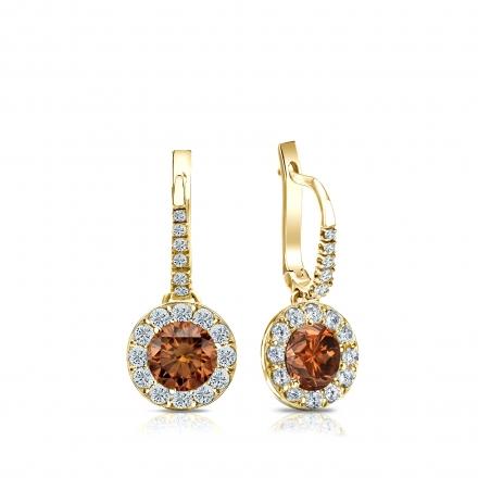 Certified 14k Yellow Gold Dangle Studs Halo Round Brown Diamond Earrings 1.00 ct. tw. (Brown, SI1-SI2)