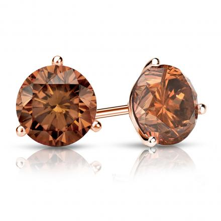 Certified 14k Rose Gold 3-Prong Martini Round Brown Diamond Stud Earrings 1.50 ct. tw. (Brown, SI1-SI2)