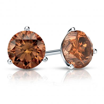Certified 14k White Gold 3-Prong Martini Round Brown Diamond Stud Earrings 1.50 ct. tw. (Brown, SI1-SI2)