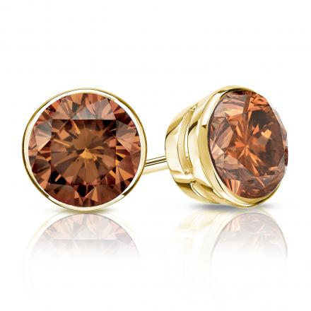 Certified 18k Yellow Gold Bezel Round Brown Diamond Stud Earrings 1.50 ct. tw. (Brown, SI1-SI2)