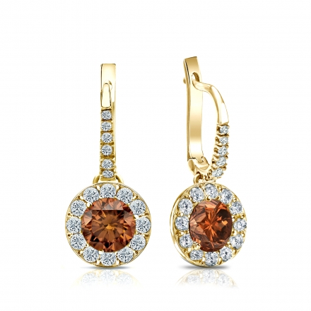 Certified 18k Yellow Gold Dangle Studs Halo Round Brown Diamond Earrings 1.50 ct. tw. (Brown, SI1-SI2)
