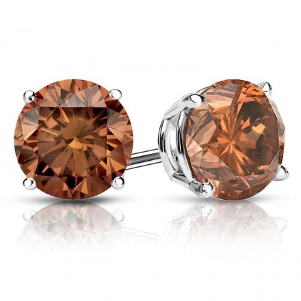 Certified 18k White Gold 4-Prong Basket Round Brown Diamond Stud Earrings 2.00 ct. tw. (Brown, SI1-SI2)