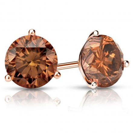 Certified 14k Rose Gold 3-Prong Martini Round Brown Diamond Stud Earrings 2.50 ct. tw. (Brown, SI1-SI2)