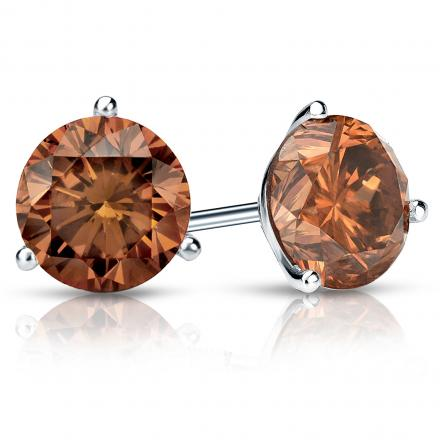 Certified 18k White Gold 3-Prong Martini Round Brown Diamond Stud Earrings 2.00 ct. tw. (Brown, SI1-SI2)