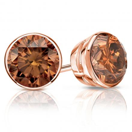 Certified 14k Rose Gold Bezel Round Brown Diamond Stud Earrings 2.00 ct. tw. (Brown, SI1-SI2)