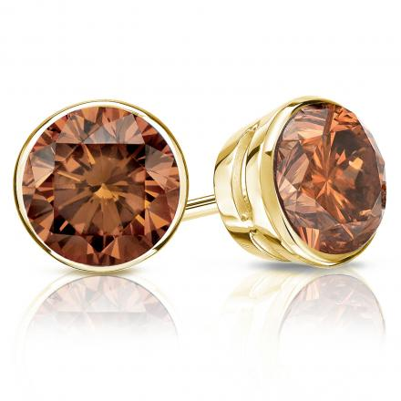 Certified 14k Yellow Gold Bezel Round Brown Diamond Stud Earrings 2.00 ct. tw. (Brown, SI1-SI2)