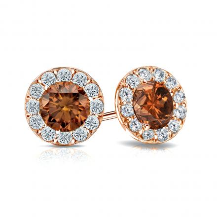 Certified 14k Rose Gold Halo Round Brown Diamond Stud Earrings 2.00 ct. tw. (Brown, SI1-SI2)