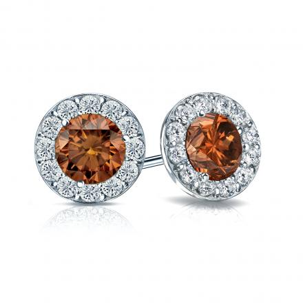 Certified 18k White Gold Halo Round Brown Diamond Stud Earrings 2.00 ct. tw. (Brown, SI1-SI2)