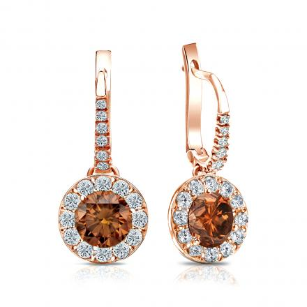 Certified 14k Rose Gold Dangle Studs Halo Round Brown Diamond Earrings 2.00 ct. tw. (Brown, SI1-SI2)