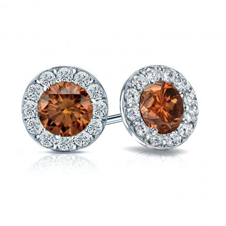 Certified 18k White Gold Halo Round Brown Diamond Stud Earrings 2 50 Ct Tw Brown Si1 Si2 Diamondstuds Com