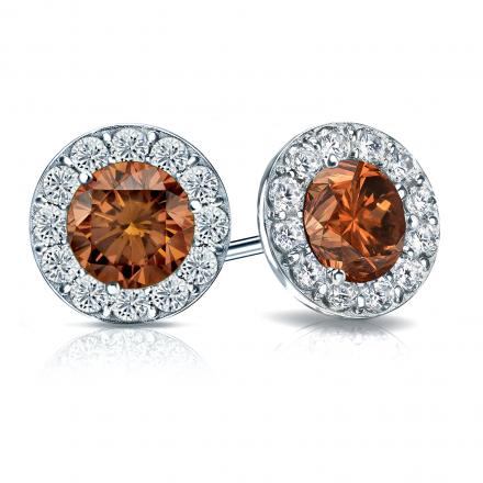 Certified 18k White Gold Halo Round Brown Diamond Stud Earrings 3.00 ct. tw. (Brown, SI1-SI2)