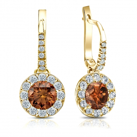 Certified 18k Yellow Gold Dangle Studs Halo Round Brown Diamond Earrings 3.00 ct. tw. (Brown, SI1-SI2)
