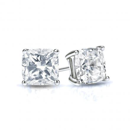 Certified 14k White Gold 4-Prong Basket Cushion Cut Diamond Stud Earrings 0.75 ct. tw. (F-G, SI1-SI2)
