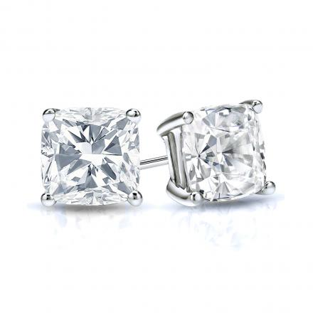 Certified 14k White Gold 4-Prong Basket Cushion Cut Diamond Stud Earrings 1.00 ct. tw. (I-J, I1-I2)