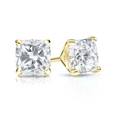 Certified 14k Yellow Gold 4-Prong Martini Cushion Cut Diamond Stud Earrings 1.00 ct. tw. (H-I, SI1-SI2)