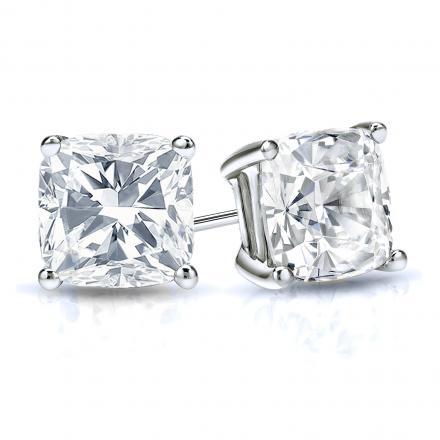 Certified 14k White Gold 4-Prong Basket Cushion Cut Diamond Stud Earrings 1.50 ct. tw. (G-H, VS1-VS2)