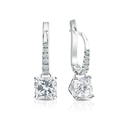 Certified 14k White Gold Dangle Studs 4-Prong Martini Cushion Cut Diamond Earrings 1.50 ct. tw. (H-I, SI1-SI2)