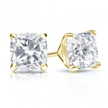 Certified 18k Yellow Gold 4-Prong Martini Cushion Cut Diamond Stud Earrings 1.50 ct. tw. (H-I, SI1-SI2)