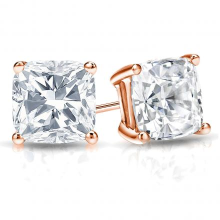 Certified 14k Rose Gold 4-Prong Basket Cushion Cut Diamond Stud Earrings 2.00 ct. tw. (H-I, I1-I2)