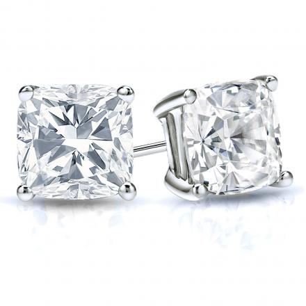 Certified 14k White Gold 4-Prong Basket Cushion Cut Diamond Stud Earrings 2.00 ct. tw. (H-I, I1-I2)