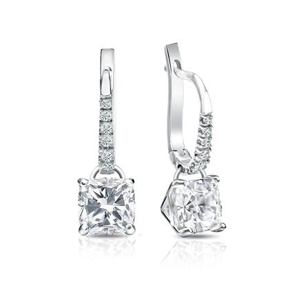 Certified 18k White Gold Dangle Studs 4-Prong Martini Cushion Cut Diamond Earrings 2.00 ct. tw. (I-J, I1-I2)