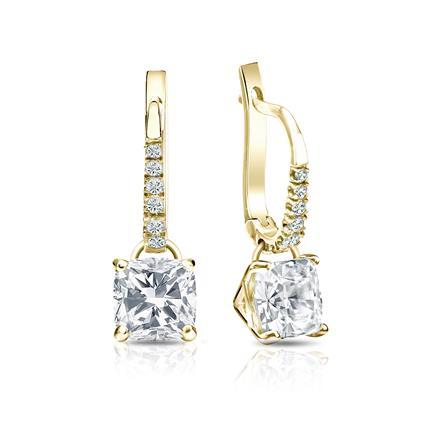 Certified 18k Yellow Gold Dangle Studs 4-Prong Martini Cushion Cut Diamond Earrings 2.00 ct. tw. (I-J, I1-I2)