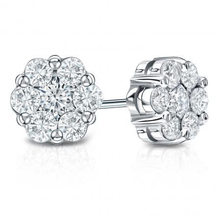 14k White Gold Prong-Set Cluster Round Diamond Earring 0.50 ct. tw. (H, SI1)