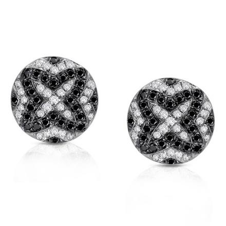 14k White Gold Pave-Set Black & White Diamond Earring 0.33 ct. tw. (G-H, I1-I2)