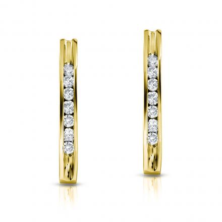 14k Yellow Gold Channel Set Round-Cut Diamond Earrings 0.50 ct. tw. (I-J, I1-I2)