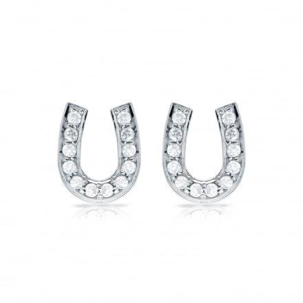 10k White Gold Horseshoe Shaped Round-Cut Diamond Earrings 0.10 ct. tw. (H-I, I1-I2)