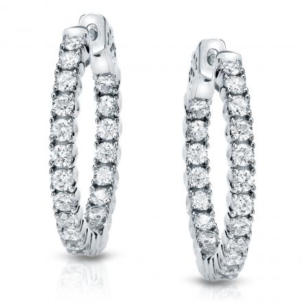 14k White Gold Small Round Diamond Hoop Earrings 0.50 ct.tw. (H-I, SI1-SI2), 0.51-inch (13mm)