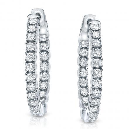 14k White Gold Medium Round Diamond Hoop Earrings 2.00 ct. tw. (H-I, SI1-SI2), 1.29-inch (33mm)
