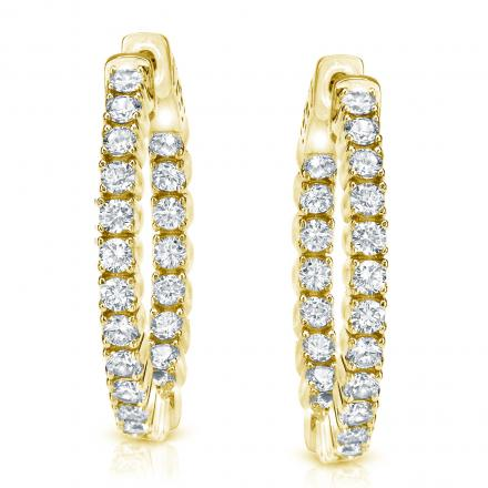 14k Yellow Gold Medium Round Diamond Hoop Earrings 2.00 ct. tw. (H-I, SI1-SI2), 1.29-inch (33mm)